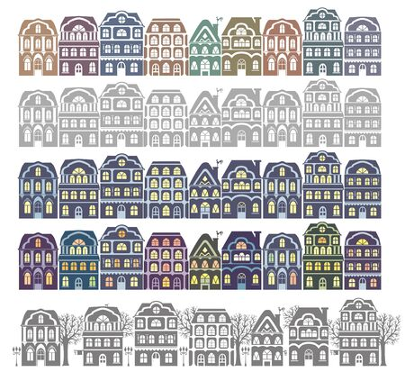 architectural styles: Silhouette city street. Eps10 format.