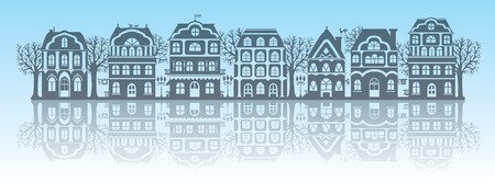architectural styles: Silhouettes of houses. Eps10 format.