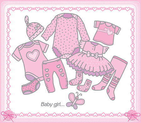 tights: fashionable baby clothes for girls. Illustration