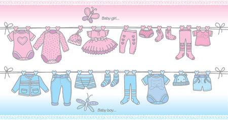 bébé vêtements à la mode pour les filles et les garçons. Format Eps10 Vecteurs