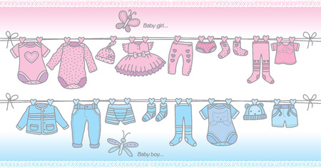 cute baby girls: fashionable baby clothes for girls and boys. Eps10 format