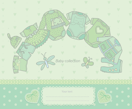 Green collection of clothing for kids. Eps10 format Vector