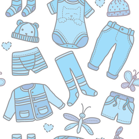 life jackets: Seamless pattern baby boy clothes. Eps10 format