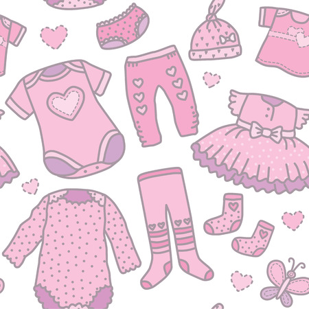 tights: Seamless pattern baby girls clothes. Eps10 format Illustration
