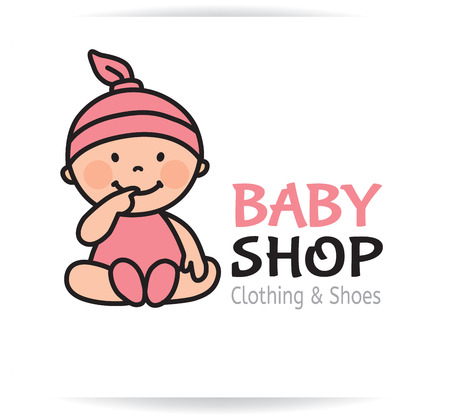 cute babies: Logotipo de la tienda del beb�. Formato Eps10