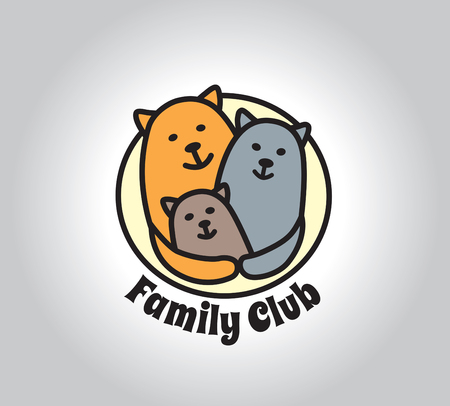 creative arts: Family club in cat illustration .