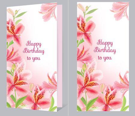 alstromeria: Birthday card with alstromeria. Eps10 format Illustration