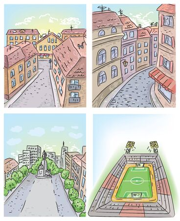 alleys: Four kinds of illustrations of streets and stadium. Illustration