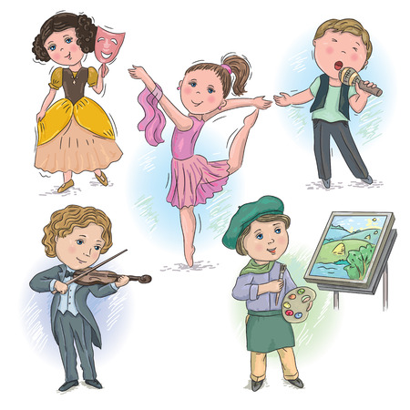 theater masks: Set of pictures with children in creative professions Illustration