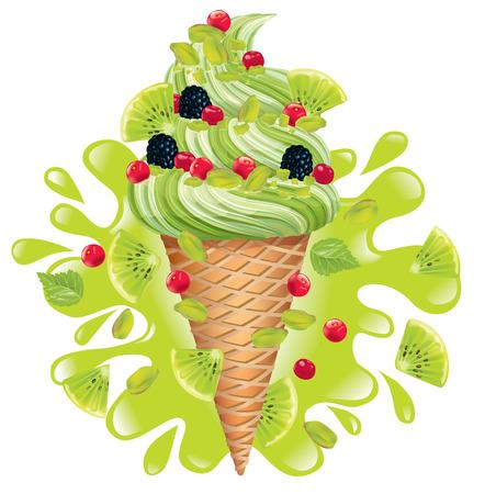 Ice cream pistachio with kiwi Illustration