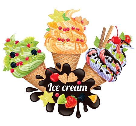 paletas de hielo: Composición de helado de chocolate y fruta Vectores