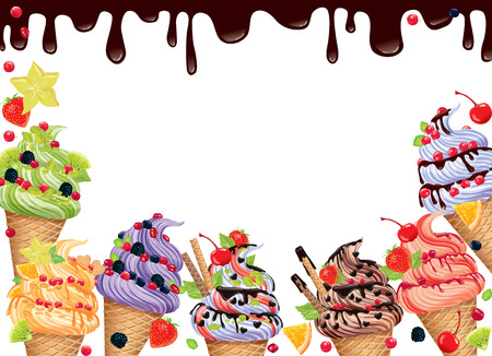 background with ice cream and chocolate