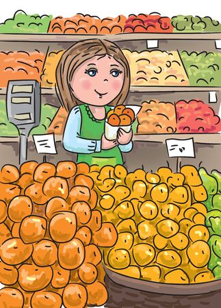 fruit trade: Fruit seller in the trade shop