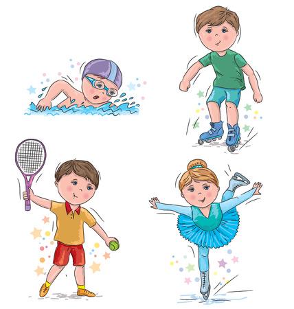 figure skating: Swimming, roller skating, tennis, figure skating.