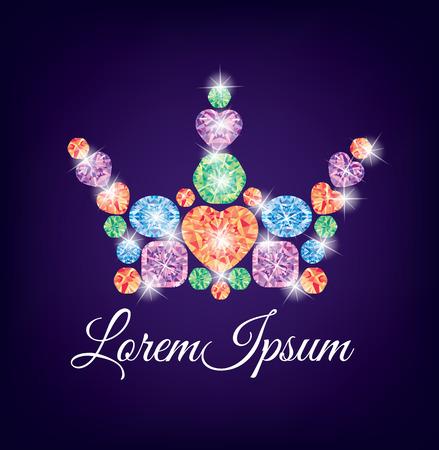 gemstones: Ceautiful crown of multicolored gemstones