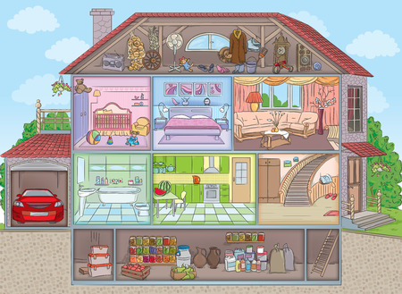 balcony window: two-storey house with garage sectional Illustration