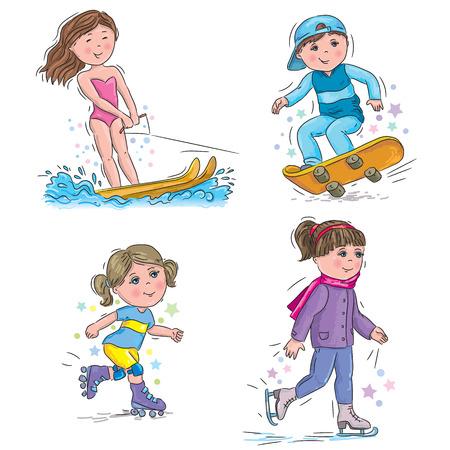 roller skates: Water ski, skateboard, skates, roller skates.