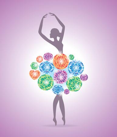 piedras preciosas: Baile de la bailarina en un vestido hecho de piedras preciosas. Vectores