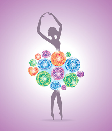 precious stones: Ballerina dancing in a dress made of precious stones. Illustration