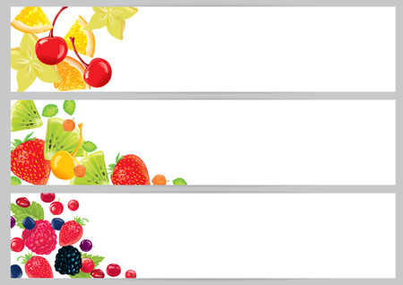 Three horizontal banners with fruits