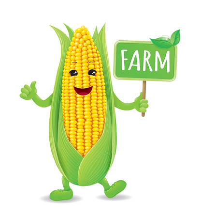 Smiling, animated corn.