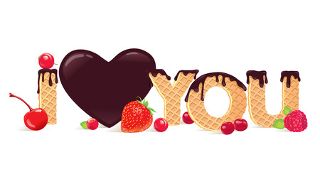 chocolate mint: banner with the words `I love you` Illustration