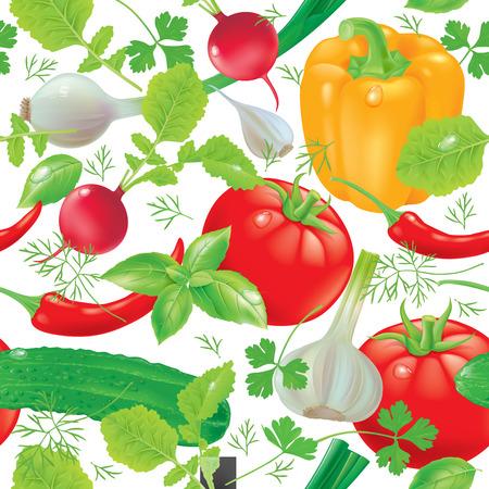 garlic clove: Seamless pattern with fresh vegetables