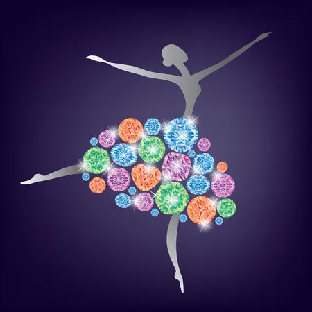 pietre preziose: Ballerina di danza in un vestito fatto di pietre preziose.