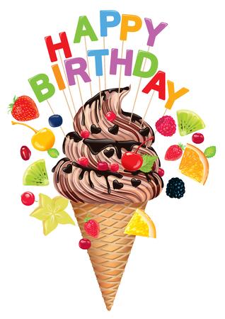 ice cream cup: Hapy Birthday ice cream.