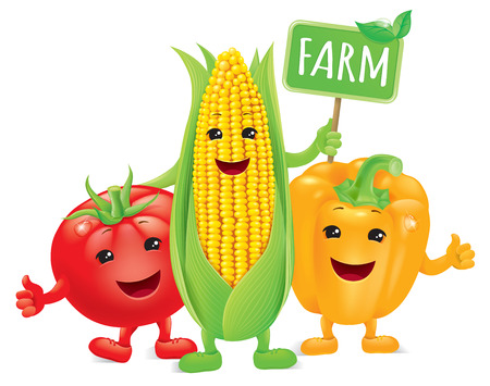 maize: Funny vegetables with board farm.