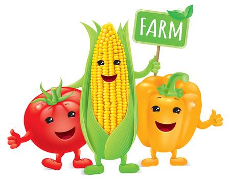 mazorca de maiz: Verduras divertidos con granja bordo.