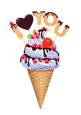 illustrate i: Ice cream with inscription I love you.
