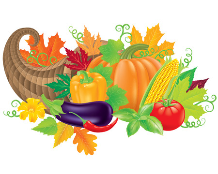 cornucopia: Cornucopia filled with fresh vegetables.