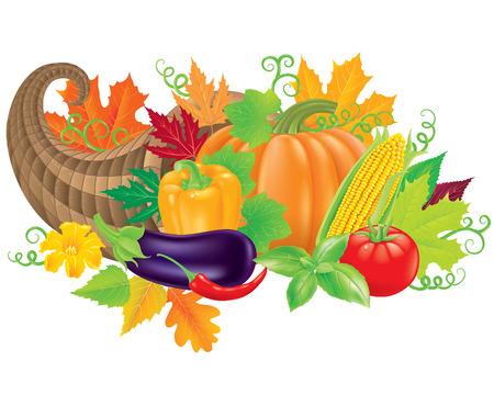cuerno de la abundancia: Cornucopia llena de verduras frescas.