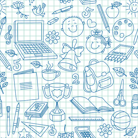 exercise book: Exercise book drawings seamless pattern. Illustration