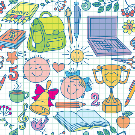 exercise book: Exercise book drawings seamless pattern color.