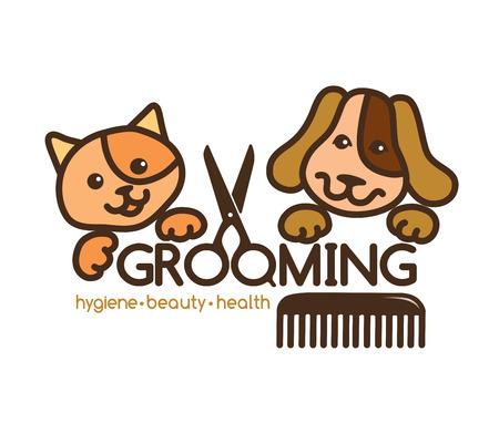 přátelský: kreativní, přísné logo péče o vzhled domácích zvířat.