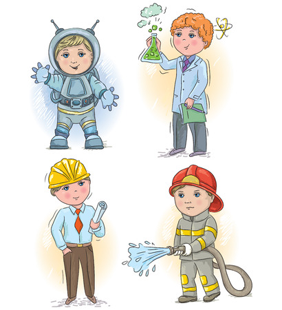 fireman: Set of occupations - the astronaut, the scientist, the engineer and the fireman. Illustration