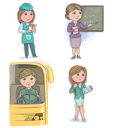 merchant: Profession kids. vendor, merchant, teacher, driver, manager, secretary. Illustration