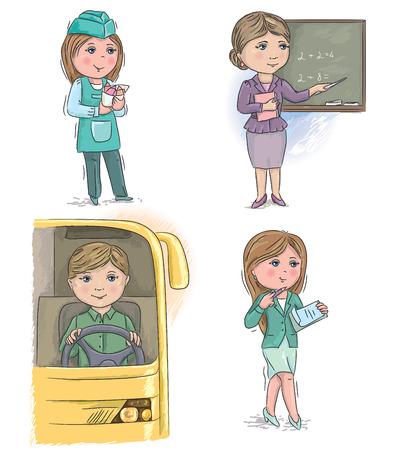 Profession kids. vendor, merchant, teacher, driver, manager, secretary. Illustration