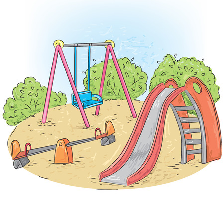 swings: A childrens playground with swings and sand.