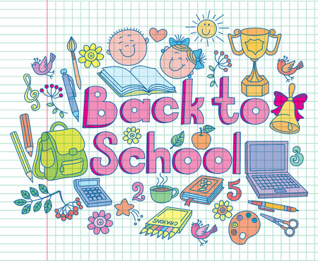 pc: Back to school composition color. Illustration