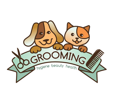 cat grooming: creative, rigorous logo Grooming pets.