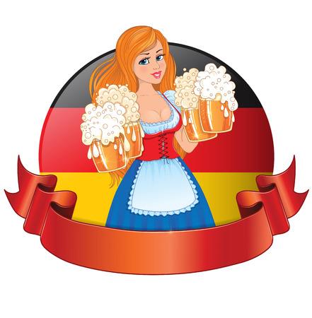 nude girl:  Bavarian girl with beer