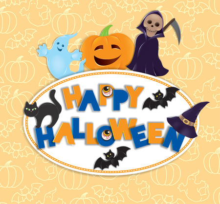 happy halloween: Happy Halloween round board with text Illustration