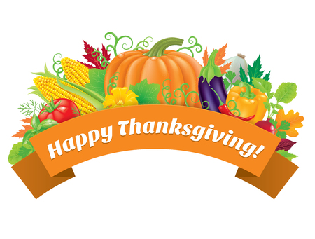 Happy Thanksgiving greeting with vegetable. Vectores