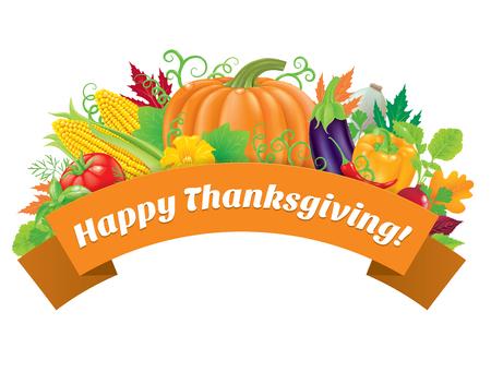 Happy Thanksgiving greeting with vegetable. Ilustração
