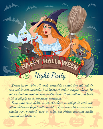 hair mask: Halloween banner with witch and text Illustration