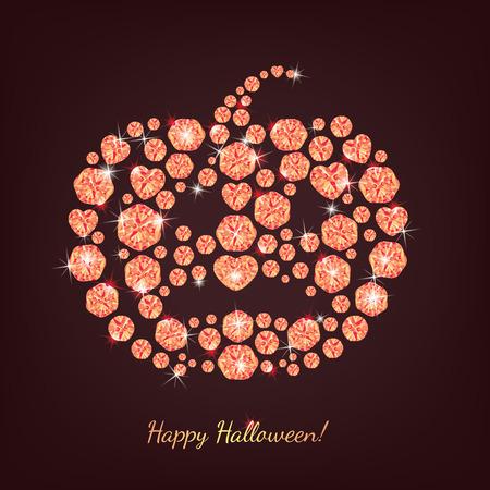 gemstones: Pumpkin built of precious stones. Illustration