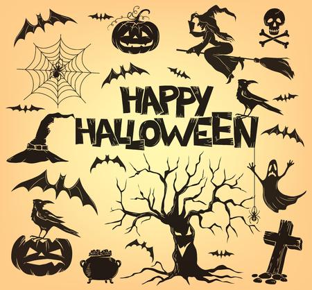 witch spider: Halloween set of attributes. Eps10 Illustration